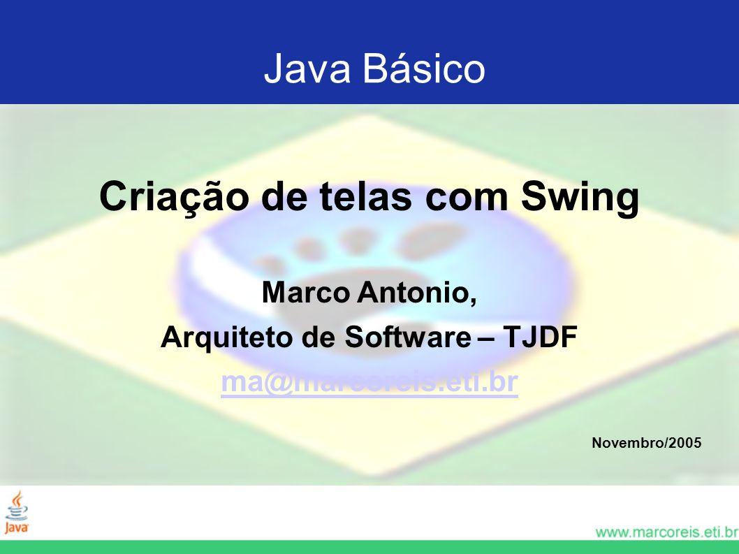 Criação de telas com Swing Arquiteto de Software – TJDF