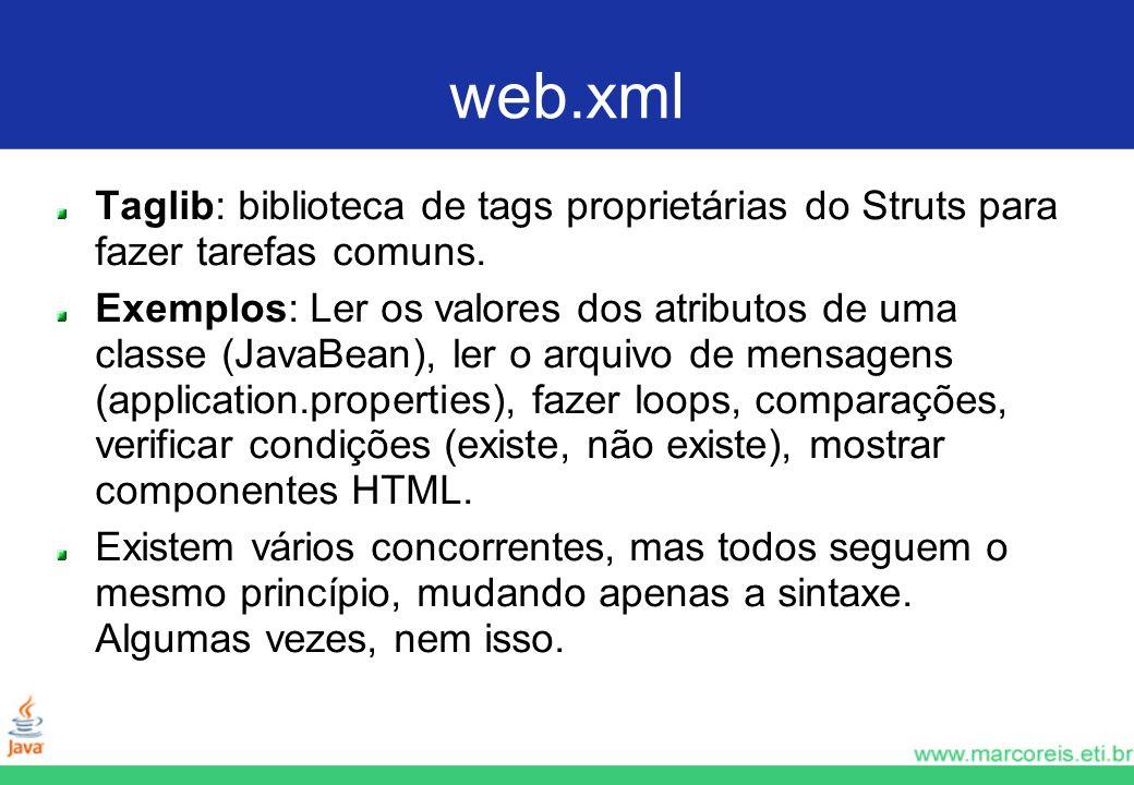 web.xml Taglib: biblioteca de tags proprietárias do Struts para fazer tarefas comuns.