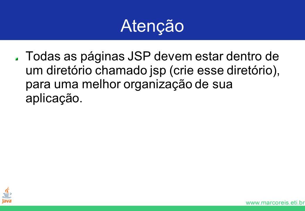 Atenção Todas as páginas JSP devem estar dentro de um diretório chamado jsp (crie esse diretório), para uma melhor organização de sua aplicação.