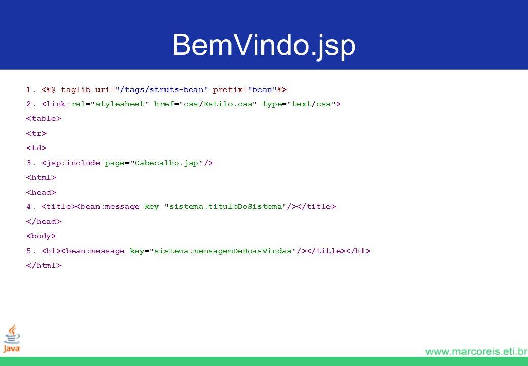 BemVindo.jsp 1. <%@ taglib uri= /tags/struts-bean prefix= bean %> 2. <link rel= stylesheet href= css/Estilo.css type= text/css >