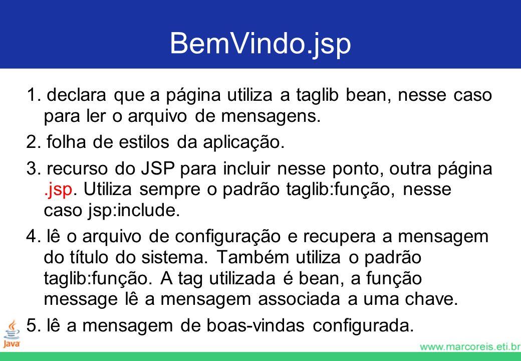 BemVindo.jsp 1. declara que a página utiliza a taglib bean, nesse caso para ler o arquivo de mensagens.