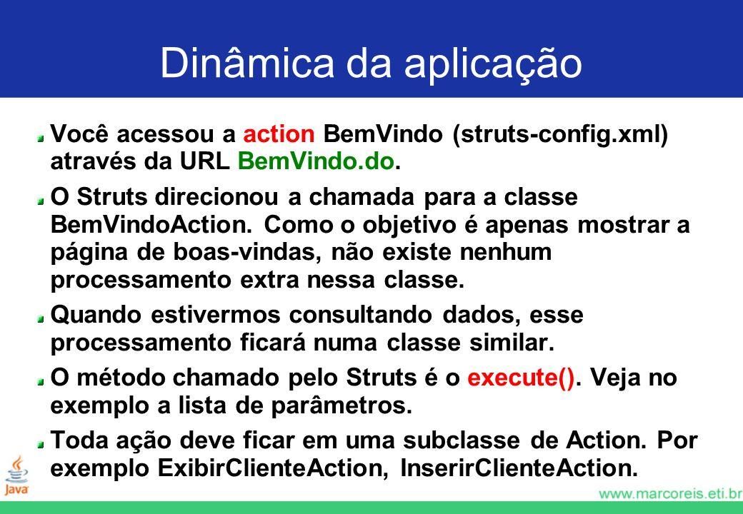 Dinâmica da aplicação Você acessou a action BemVindo (struts-config.xml) através da URL BemVindo.do.
