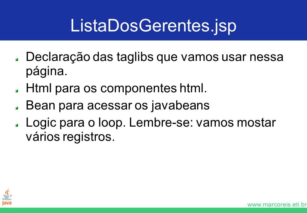 ListaDosGerentes.jsp Declaração das taglibs que vamos usar nessa página. Html para os componentes html.