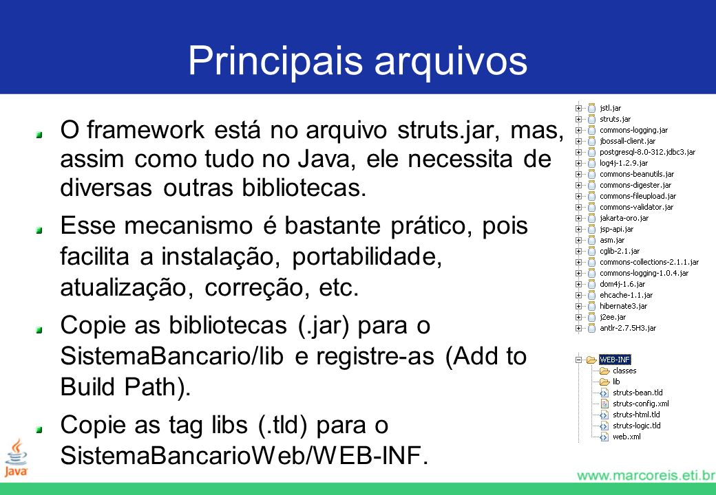 Principais arquivosO framework está no arquivo struts.jar, mas, assim como tudo no Java, ele necessita de diversas outras bibliotecas.