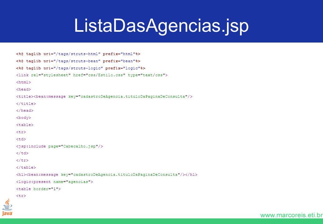 ListaDasAgencias.jsp <%@ taglib uri= /tags/struts-html prefix= html %> <%@ taglib uri= /tags/struts-bean prefix= bean %>