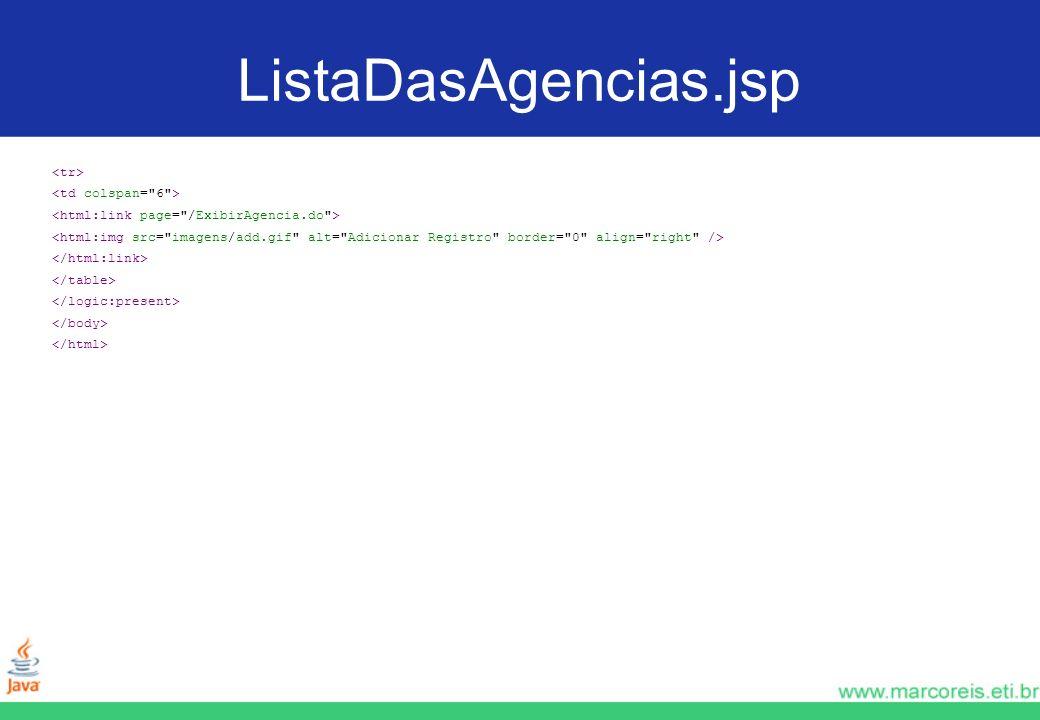 ListaDasAgencias.jsp <tr> <td colspan= 6 >