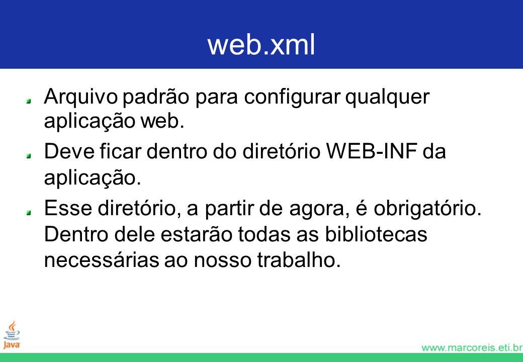 web.xml Arquivo padrão para configurar qualquer aplicação web.