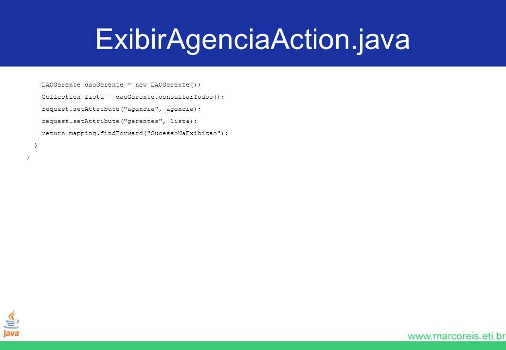 ExibirAgenciaAction.java DAOGerente daoGerente = new DAOGerente();