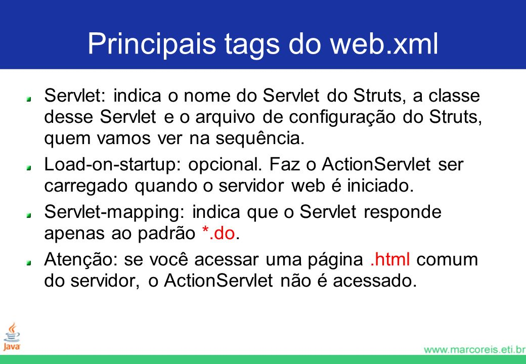Principais tags do web.xml