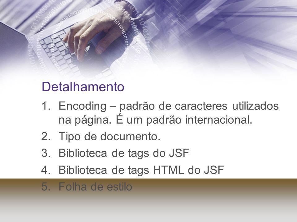 Detalhamento Encoding – padrão de caracteres utilizados na página. É um padrão internacional. Tipo de documento.