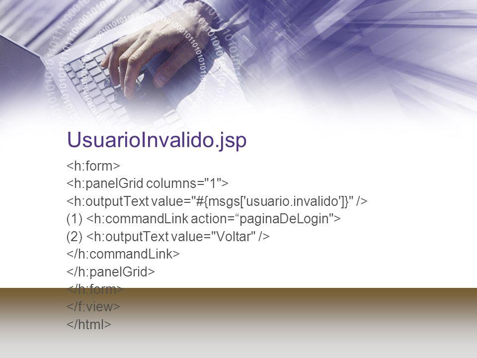 UsuarioInvalido.jsp <h:form> <h:panelGrid columns= 1 >