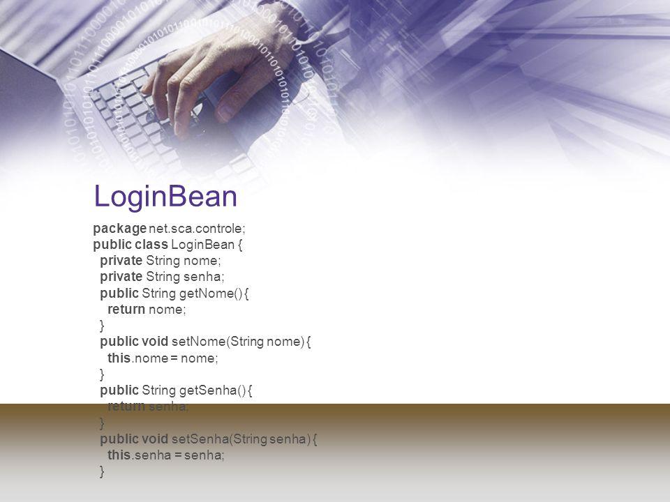 LoginBean package net.sca.controle; public class LoginBean {