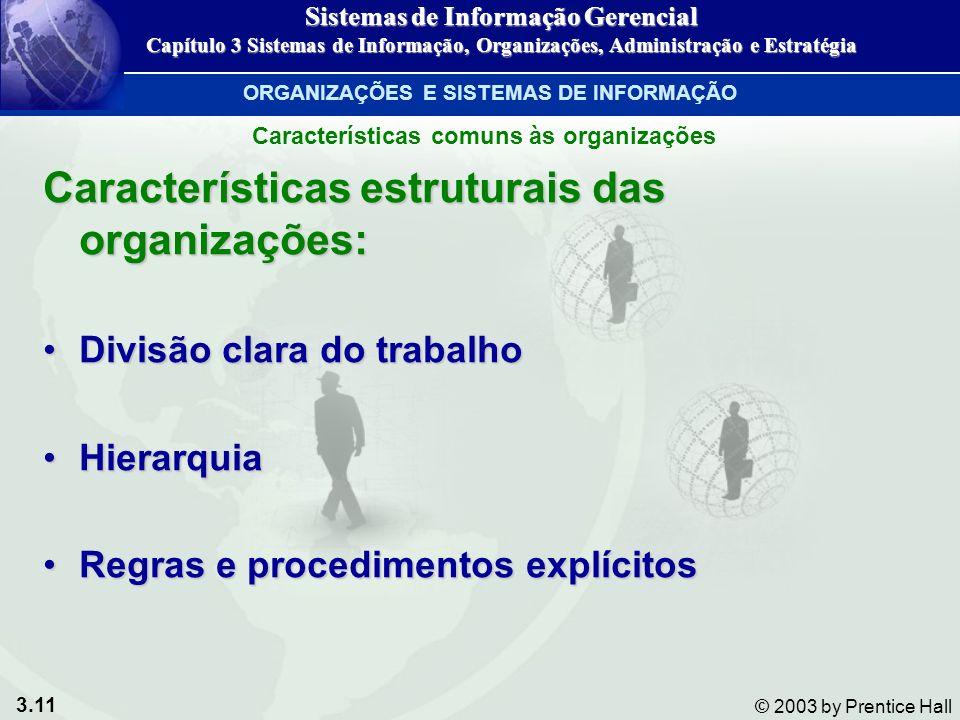 Características estruturais das organizações: