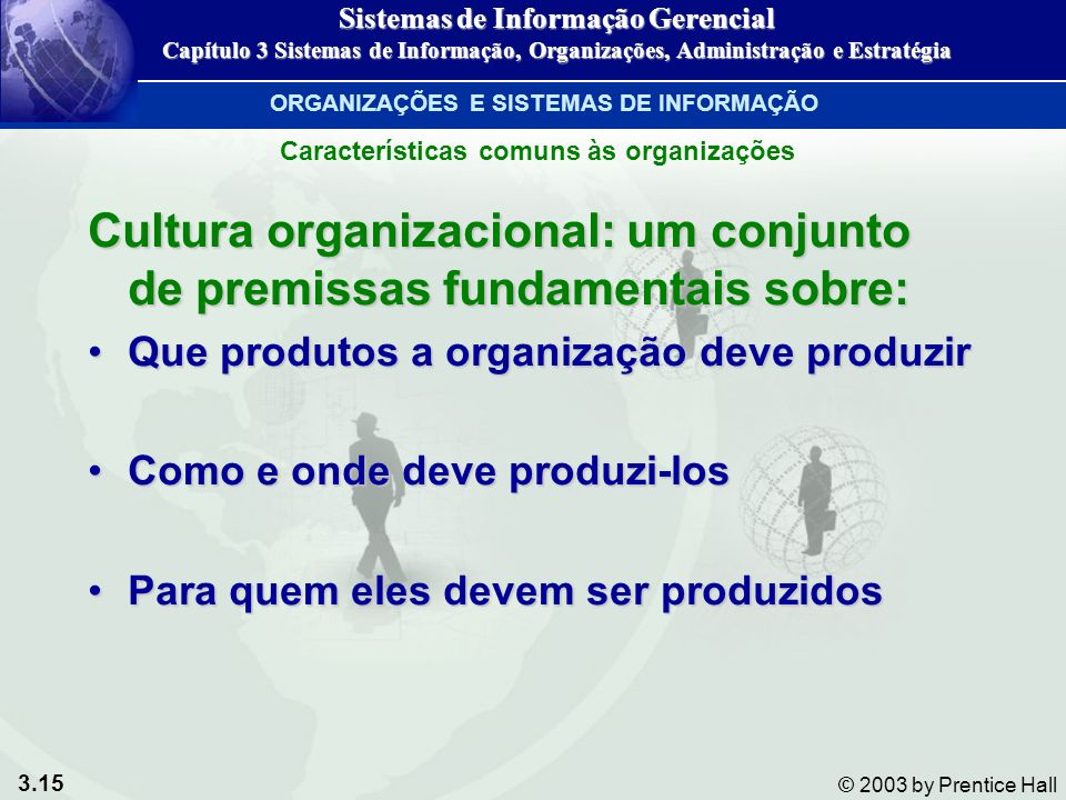 Cultura organizacional: um conjunto de premissas fundamentais sobre: