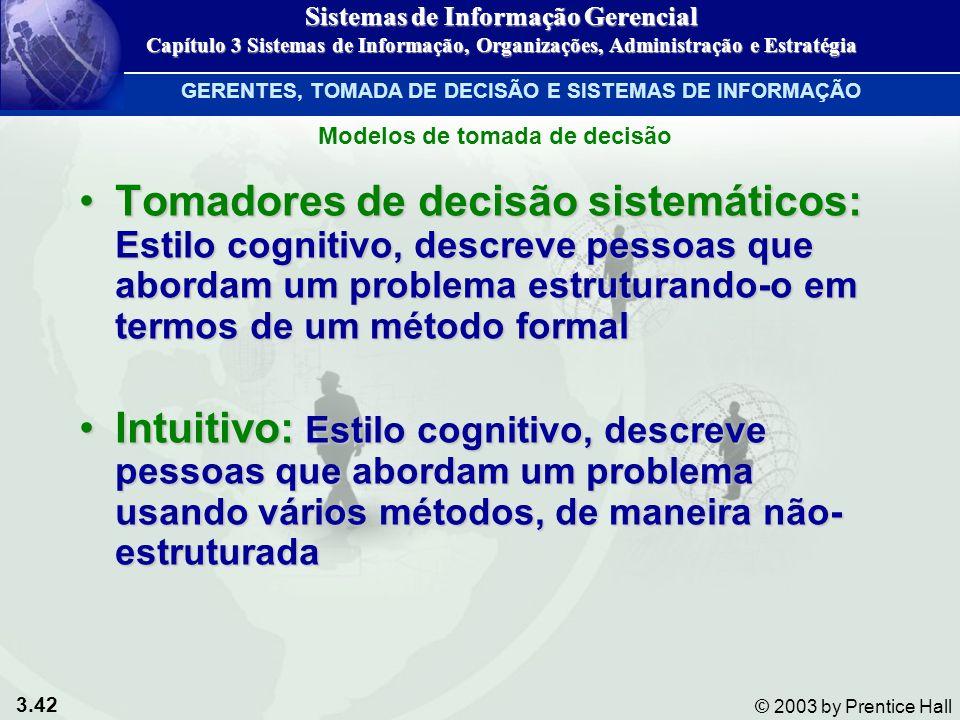 Sistemas de Informação Gerencial Modelos de tomada de decisão