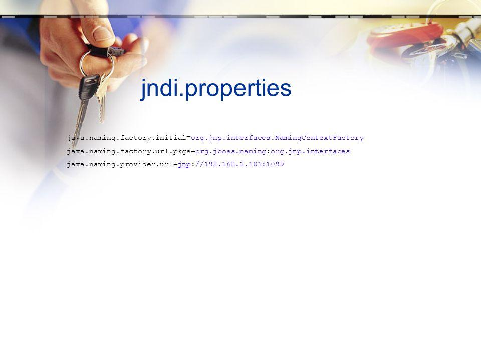 jndi.propertiesjava.naming.factory.initial=org.jnp.interfaces.NamingContextFactory. java.naming.factory.url.pkgs=org.jboss.naming:org.jnp.interfaces.