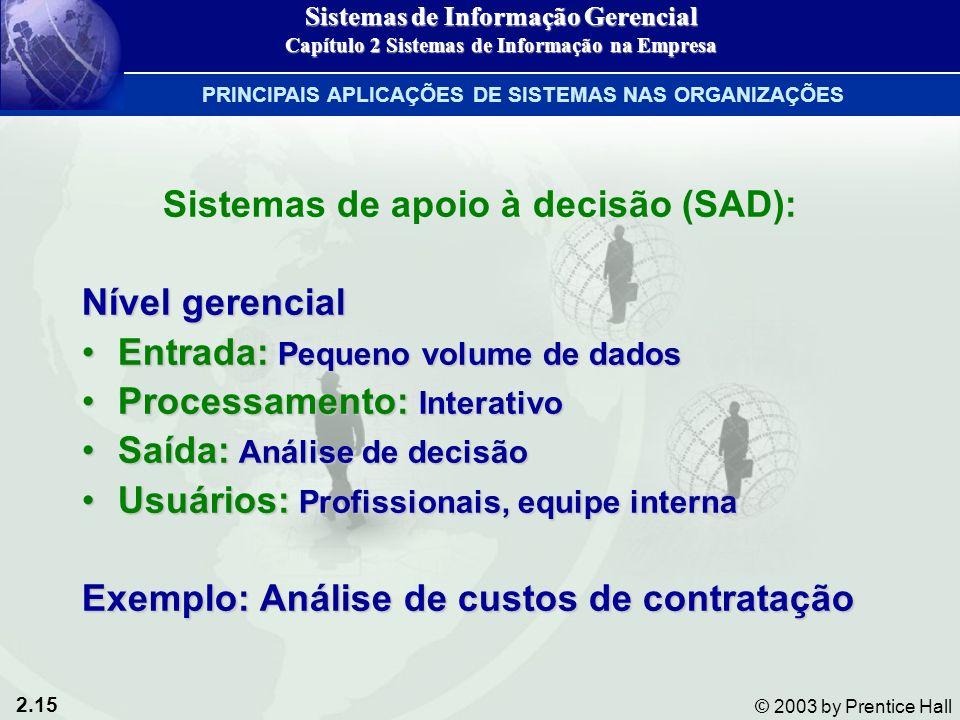 Sistemas de apoio à decisão (SAD):