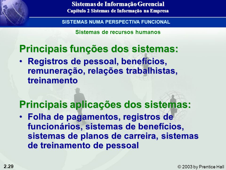 Principais funções dos sistemas:
