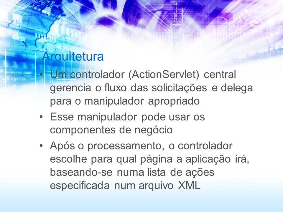 Arquitetura Um controlador (ActionServlet) central gerencia o fluxo das solicitações e delega para o manipulador apropriado.