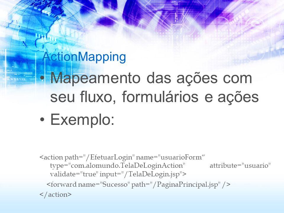 Mapeamento das ações com seu fluxo, formulários e ações Exemplo:
