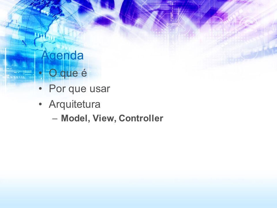 Agenda O que é Por que usar Arquitetura Model, View, Controller