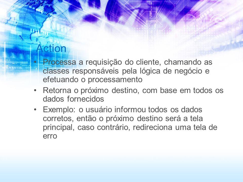 Action Processa a requisição do cliente, chamando as classes responsáveis pela lógica de negócio e efetuando o processamento.