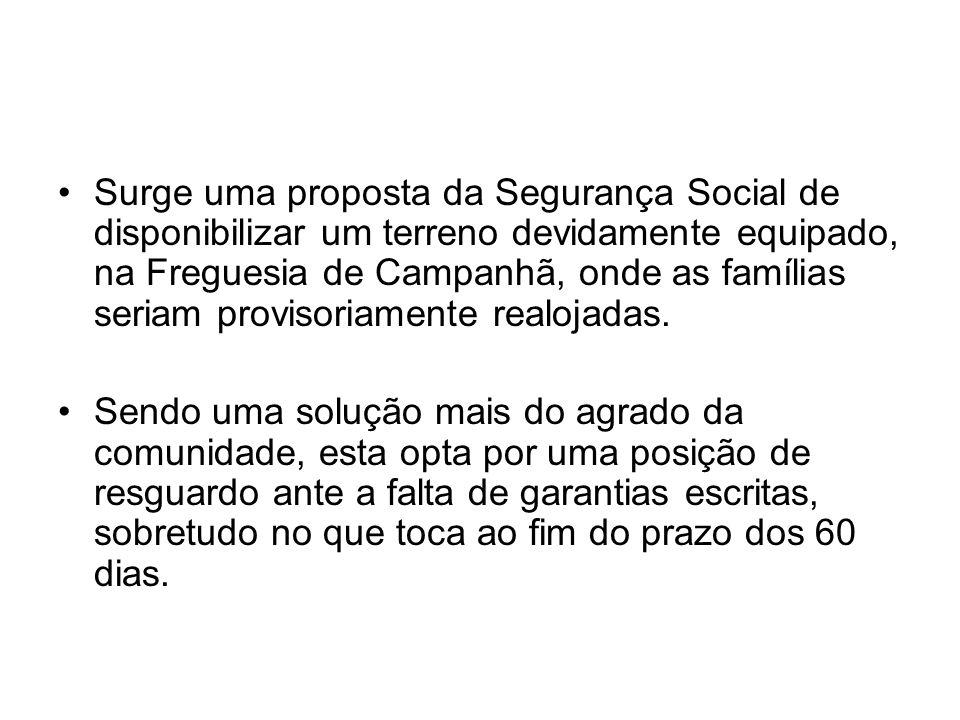 Surge uma proposta da Segurança Social de disponibilizar um terreno devidamente equipado, na Freguesia de Campanhã, onde as famílias seriam provisoriamente realojadas.