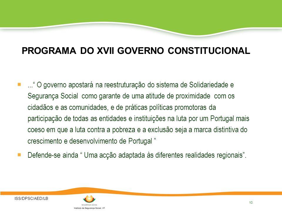 PROGRAMA DO XVII GOVERNO CONSTITUCIONAL