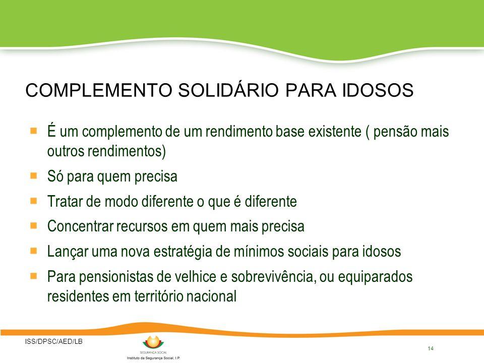 COMPLEMENTO SOLIDÁRIO PARA IDOSOS
