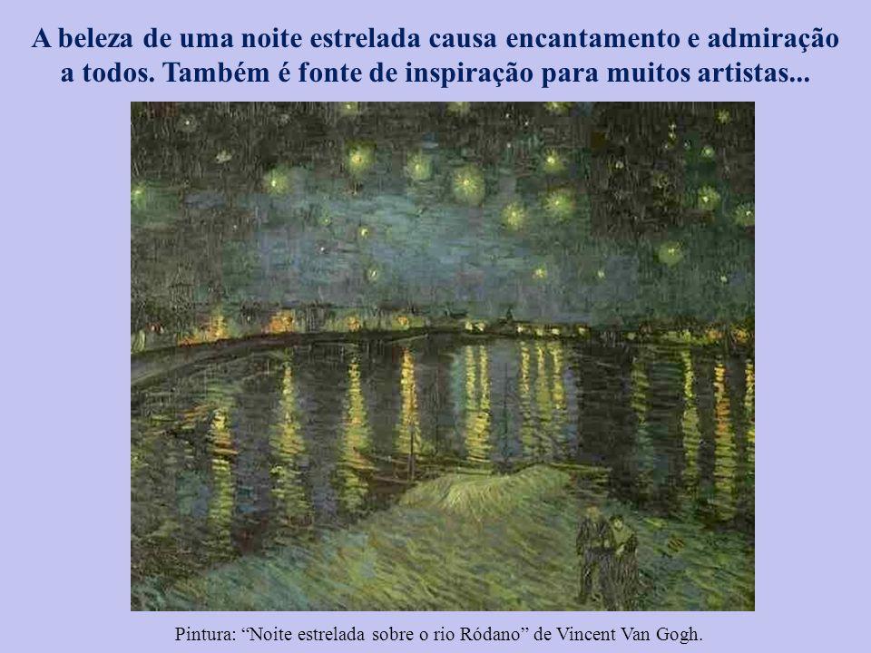 Pintura: Noite estrelada sobre o rio Ródano de Vincent Van Gogh.