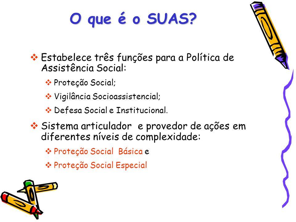 O que é o SUAS Estabelece três funções para a Política de Assistência Social: Proteção Social; Vigilância Socioassistencial;