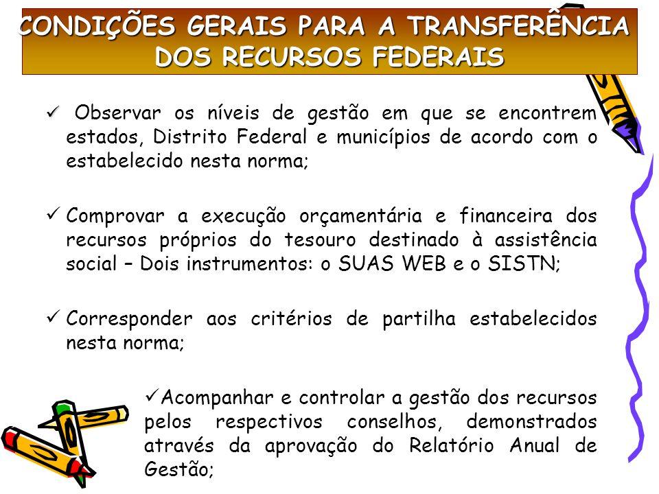 CONDIÇÕES GERAIS PARA A TRANSFERÊNCIA