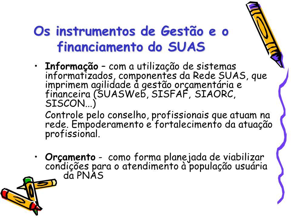 Os instrumentos de Gestão e o financiamento do SUAS