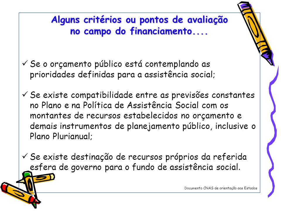 Alguns critérios ou pontos de avaliação no campo do financiamento....