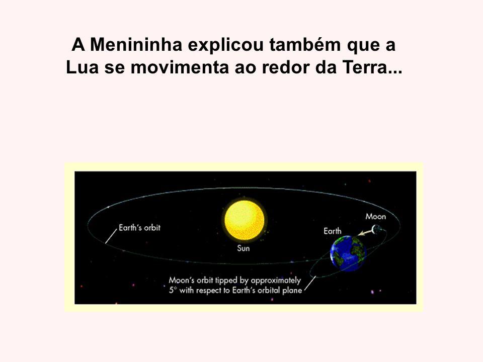A Menininha explicou também que a Lua se movimenta ao redor da Terra...