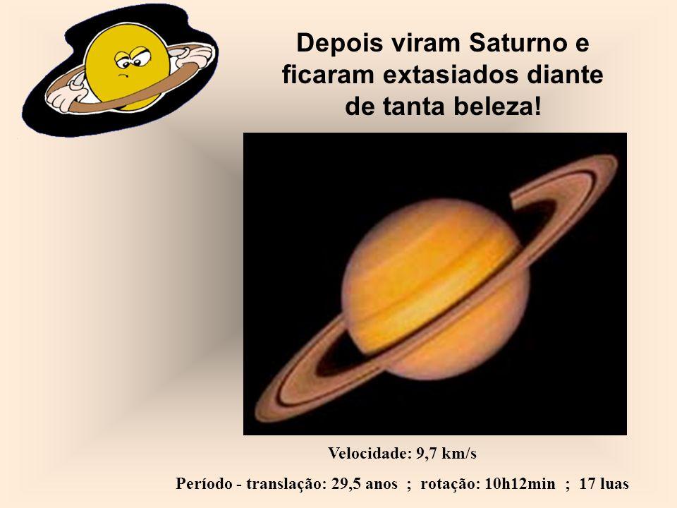Depois viram Saturno e ficaram extasiados diante de tanta beleza!