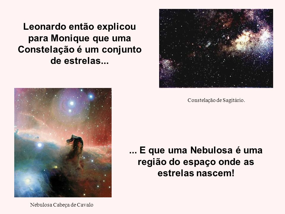 ... E que uma Nebulosa é uma região do espaço onde as estrelas nascem!