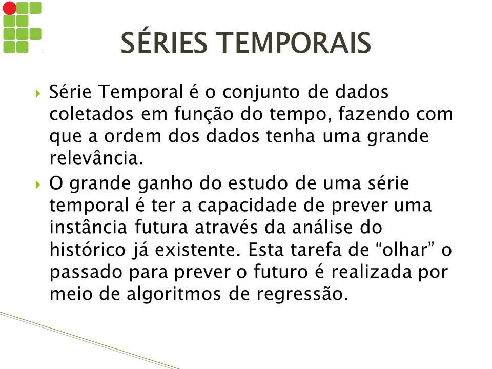 SÉRIES TEMPORAIS Série Temporal é o conjunto de dados coletados em função do tempo, fazendo com que a ordem dos dados tenha uma grande relevância.