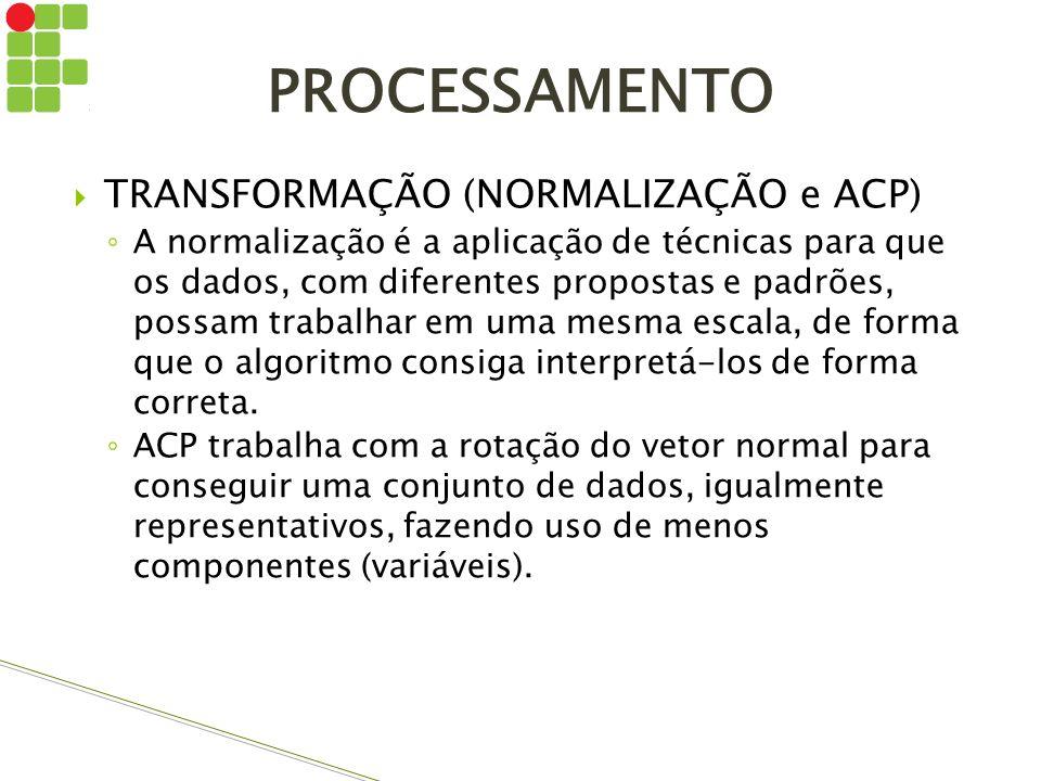PROCESSAMENTO TRANSFORMAÇÃO (NORMALIZAÇÃO e ACP)