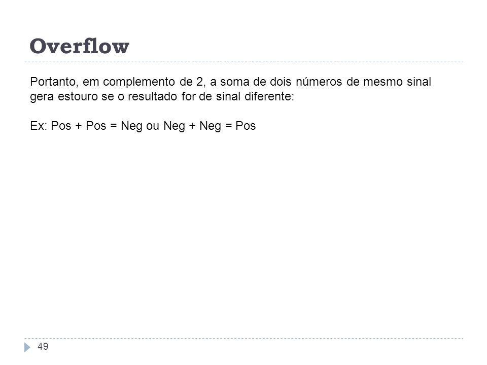 OverflowPortanto, em complemento de 2, a soma de dois números de mesmo sinal gera estouro se o resultado for de sinal diferente:
