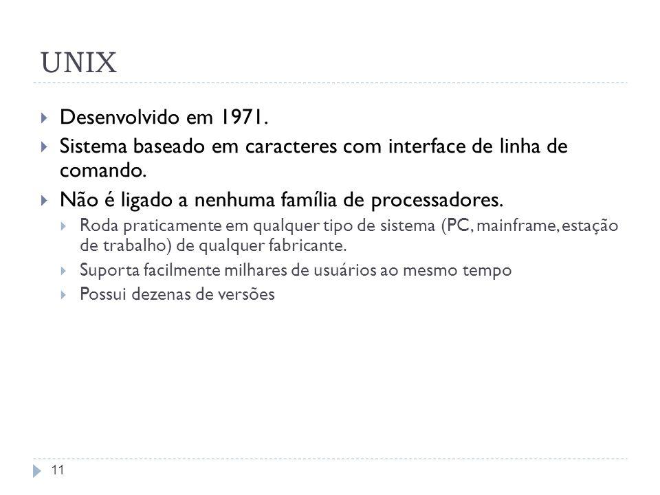 UNIX Desenvolvido em 1971. Sistema baseado em caracteres com interface de linha de comando. Não é ligado a nenhuma família de processadores.