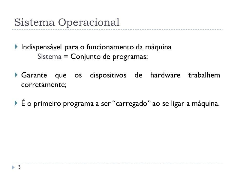 Sistema Operacional Indispensável para o funcionamento da máquina