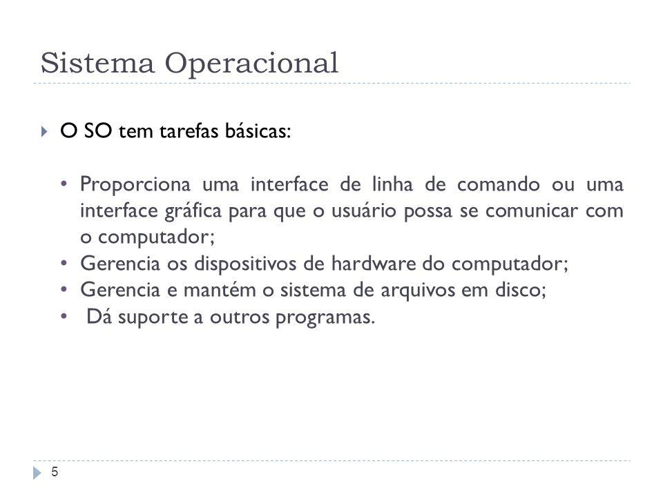 Sistema Operacional O SO tem tarefas básicas:
