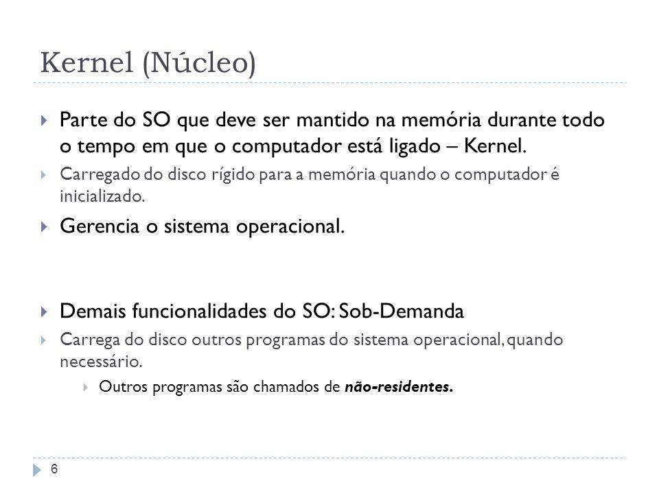 Kernel (Núcleo) Parte do SO que deve ser mantido na memória durante todo o tempo em que o computador está ligado – Kernel.
