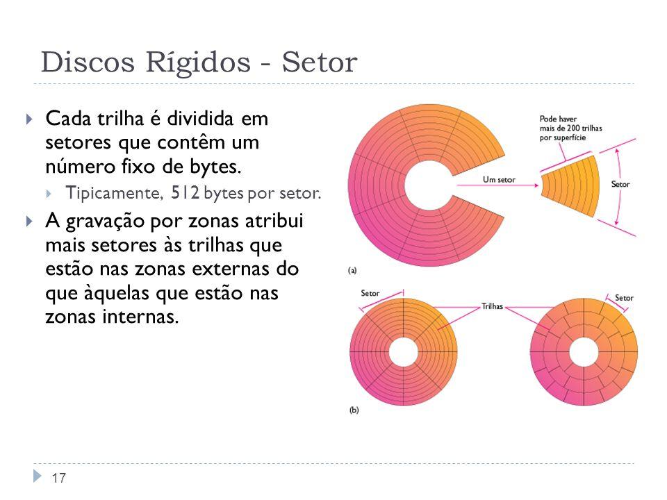 Discos Rígidos - SetorCada trilha é dividida em setores que contêm um número fixo de bytes. Tipicamente, 512 bytes por setor.