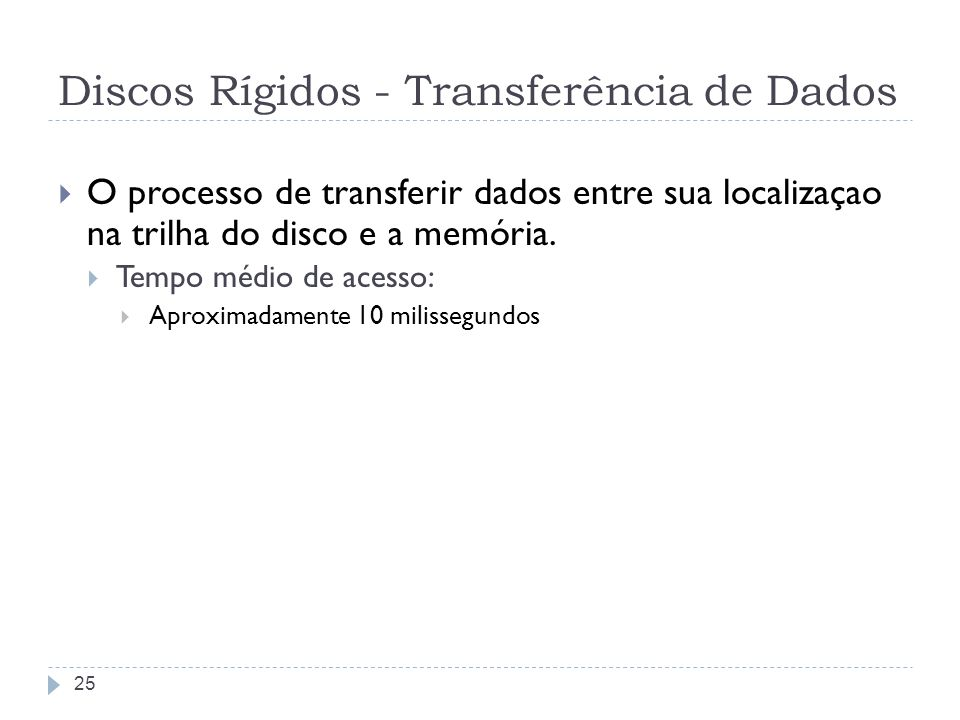 Discos Rígidos - Transferência de Dados