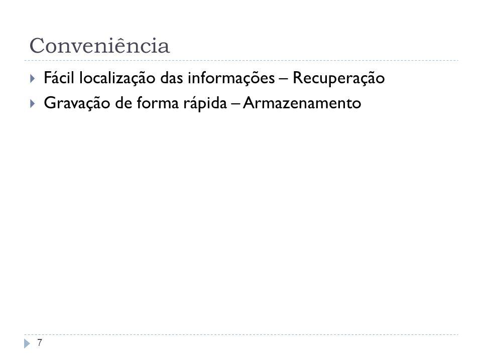 Conveniência Fácil localização das informações – Recuperação