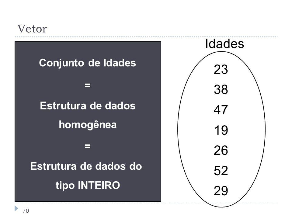 Estrutura de dados homogênea Estrutura de dados do tipo INTEIRO