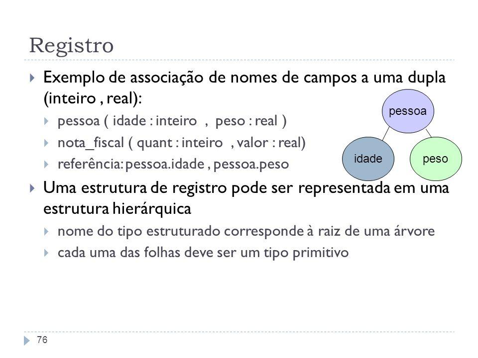 Registro Exemplo de associação de nomes de campos a uma dupla (inteiro , real): pessoa ( idade : inteiro , peso : real )