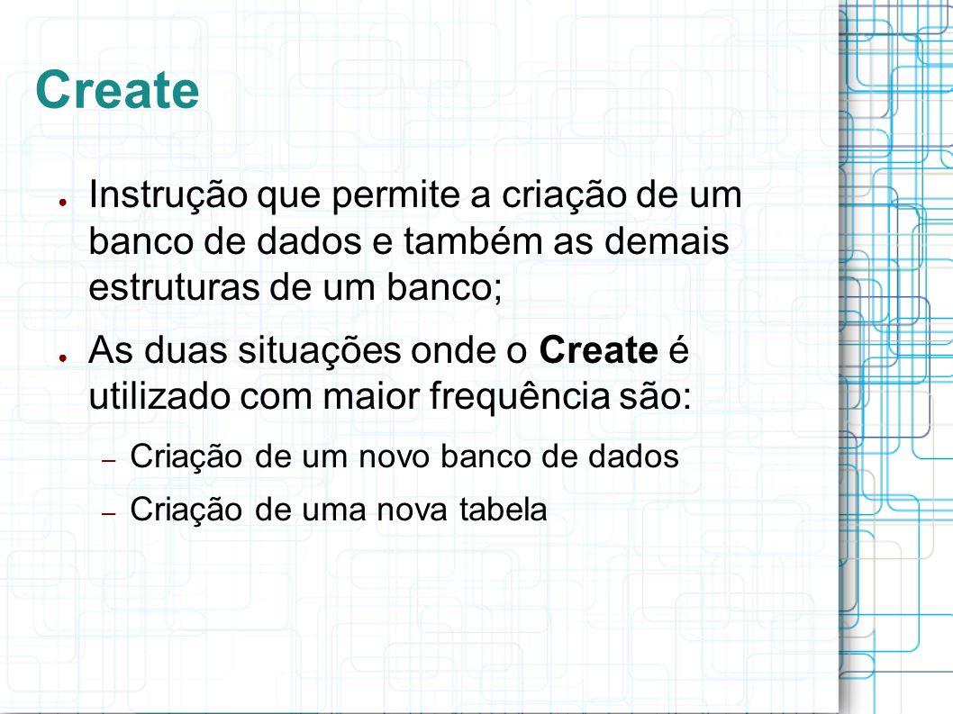 Create Instrução que permite a criação de um banco de dados e também as demais estruturas de um banco;